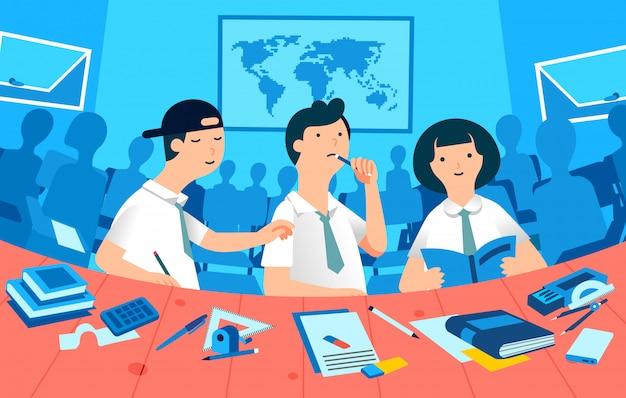 Studentenstudie in een klaslokaal, drie karakterjongens en een meisje en vele klasgenoten silhouetteren als achtergrondillustratie Premium Vector
