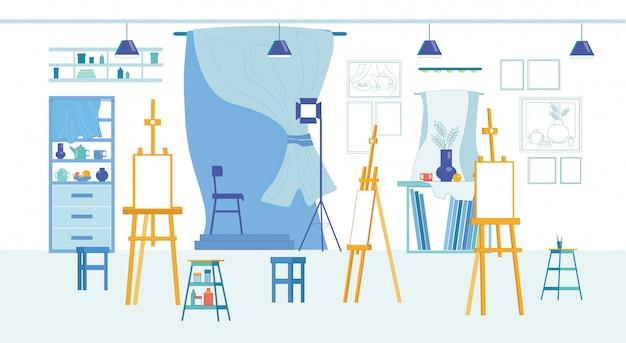 Studio in het centre of fine arts and humanities college Premium Vector