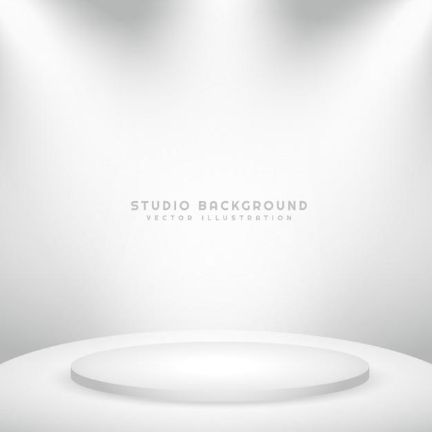 Studio witte achtergrond met podium Gratis Vector