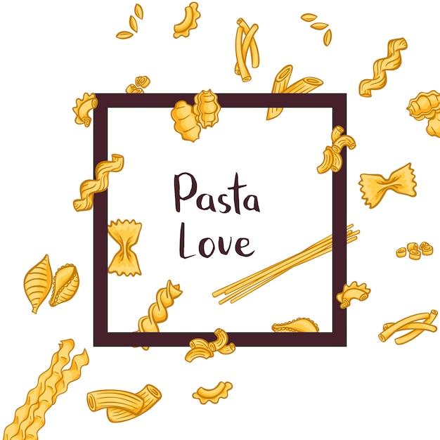 Stukjes van verschillende soorten pasta vliegen door een frame met plaats voor tekst Premium Vector
