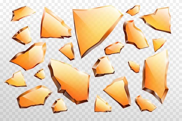 Stukken van gebroken glas realistische vector set Gratis Vector