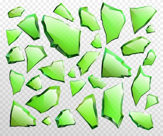 Stukken van gebroken groene glas realistische vector Gratis Vector