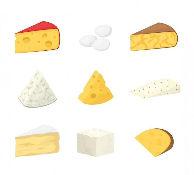 Stukken van kaas op wit worden geïsoleerd dat. Premium Vector