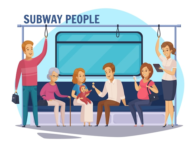 Subway underground people cartoon samenstelling Gratis Vector