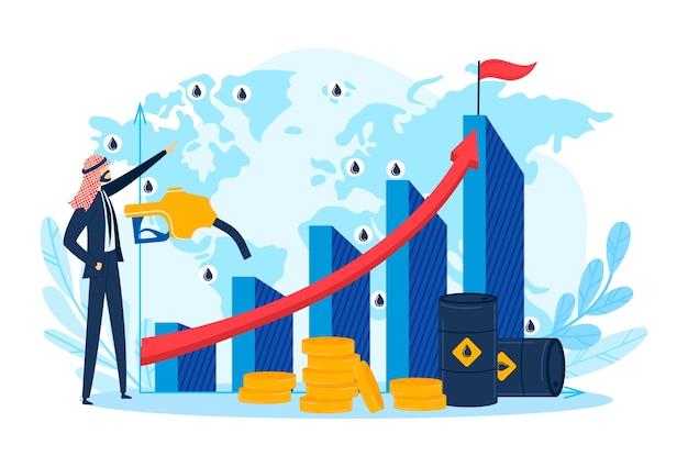 Succes arabisch karakter, arabische oliehandelgroei voor arabische zakenman, illustratie. volwassen mensen dichtbij gas, brandstoffinanciëngrafiek. succesvol persoon tekensymbool, platte industrie. Premium Vector