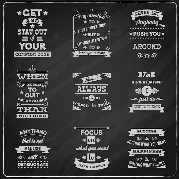 Succes citaten stellen schoolbord Gratis Vector