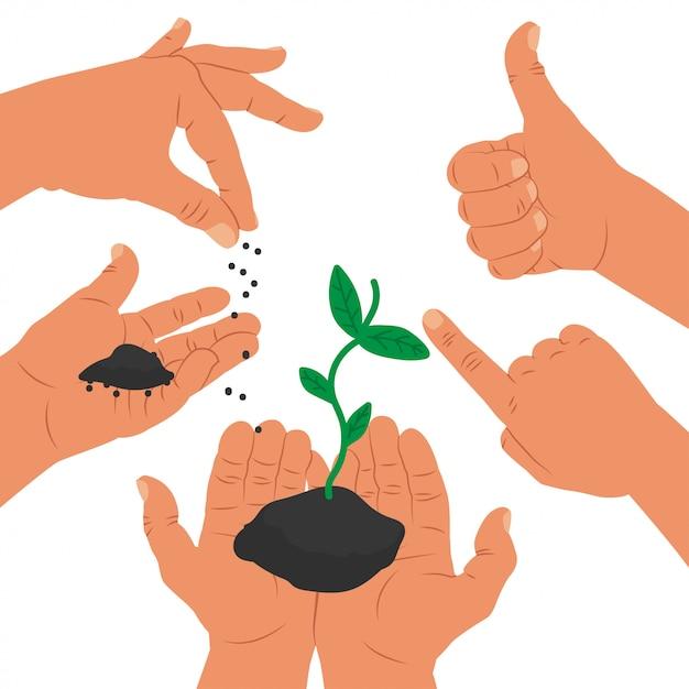 Succes concept illustratie met handen en planten groeien Premium Vector