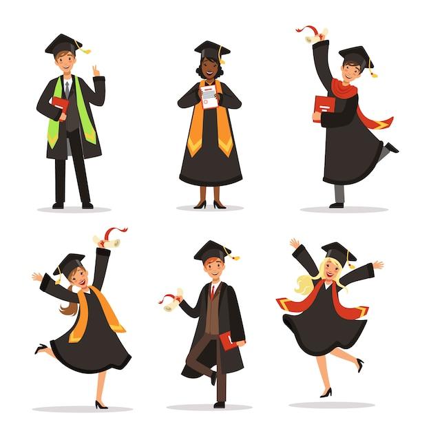 Succes en gelukkige studenten. afstuderen in verschillende landen. vector tekens. afstudeerders educati Premium Vector