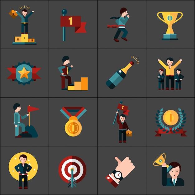 Succes icons set Gratis Vector