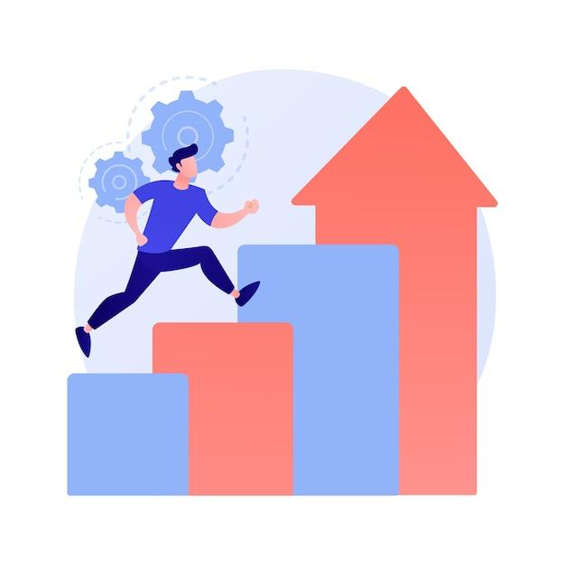 Succesprestatie. carrière-aspiratie, jobpromotie, persoonlijke groei. gemotiveerde werknemer, zakenman vliegen in raket, motivatie en vastberadenheid concept illustratie Gratis Vector
