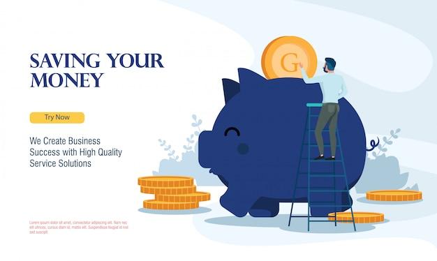 Succesvol bedrijf geld besparen met platte ontwerpconcept Premium Vector