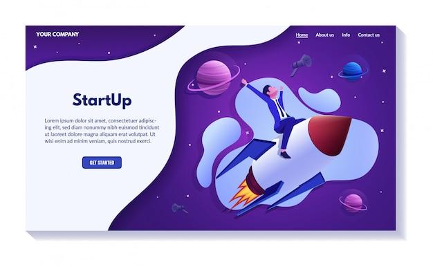 Succesvol bedrijfswebsiteconcept, reeks illustraties Premium Vector