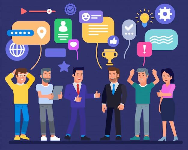 Succesvol business team met trofee icoon en tekstballonnen zakenlieden bedrijfsresultaten medewerkers werken samen om een goed idee te bereiken. eenheid op kantoor van crisis een kans maken Premium Vector