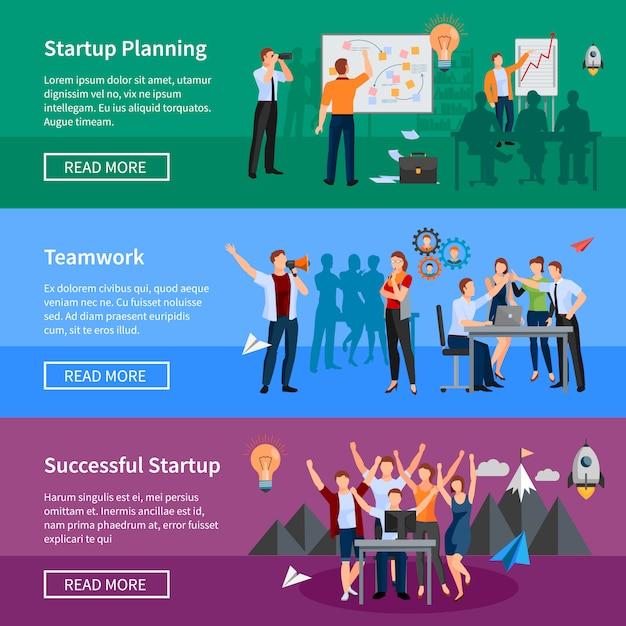 Succesvol opstarten van 3 platte horizontale banners webpagina ontwerp met innovatieve productplanning en thee Gratis Vector