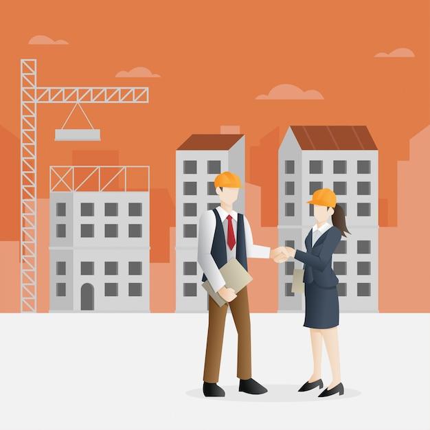 Succesvol partnerschap in de bouwsector Premium Vector