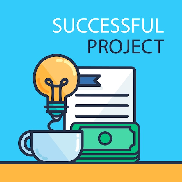 Succesvol projectconcept Premium Vector