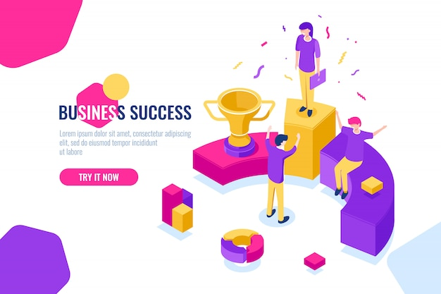 Succesvol zakelijk teamwerk isometrisch, mensen behalen succes, triomf Gratis Vector