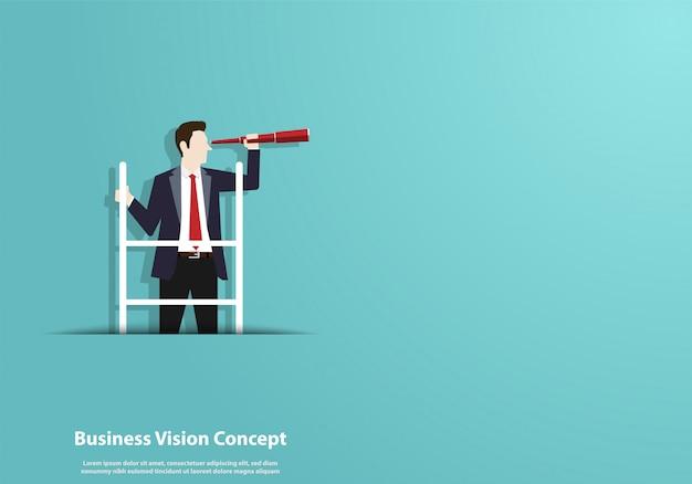 Succesvol zicht met karakter van zakenman en telescoop Premium Vector