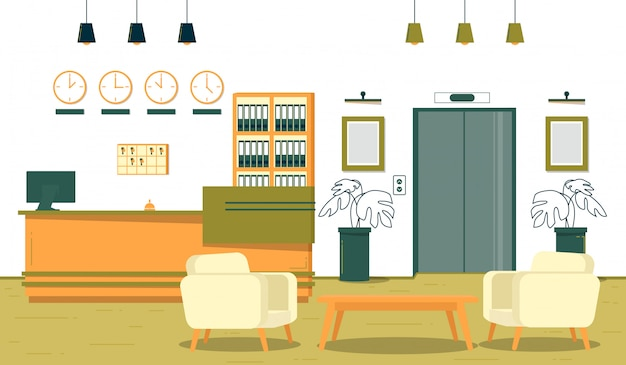 Succesvolle bedrijfsontvangst op kantoor, cartoon. Premium Vector
