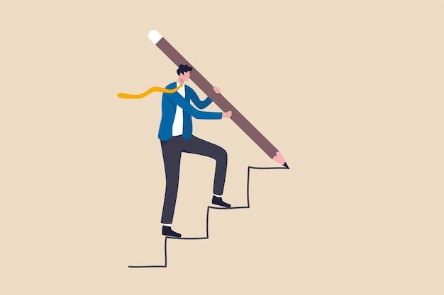 Succesvolle bedrijfsontwikkeling, strategie om het bedrijfsdoel of het concept voor het bereiken van een carrièrepad te bereiken Premium Vector