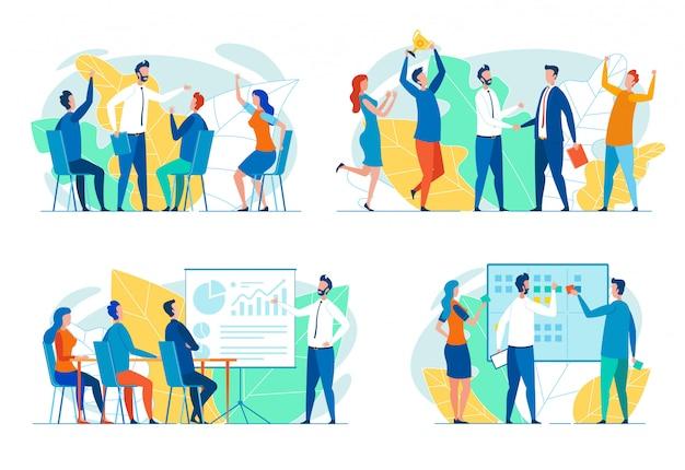 Succesvolle business team flat vector concepten set Premium Vector