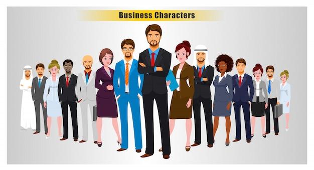 Succesvolle leden van het zakelijke team Premium Vector