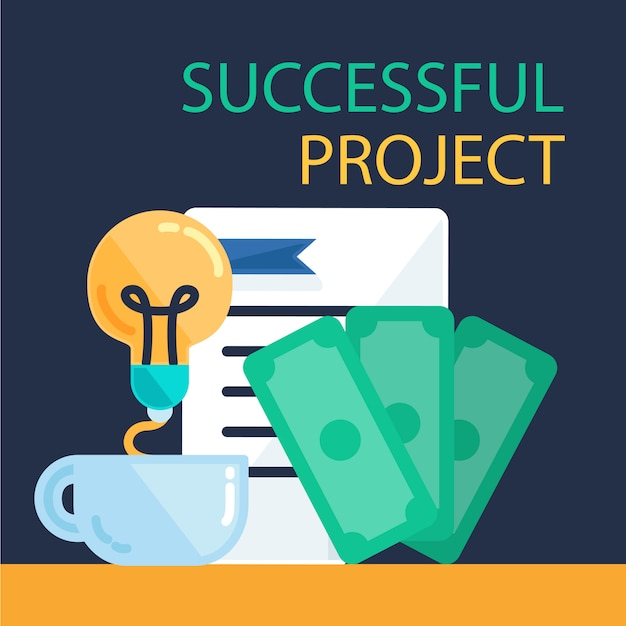 Succesvolle projectbanner Premium Vector