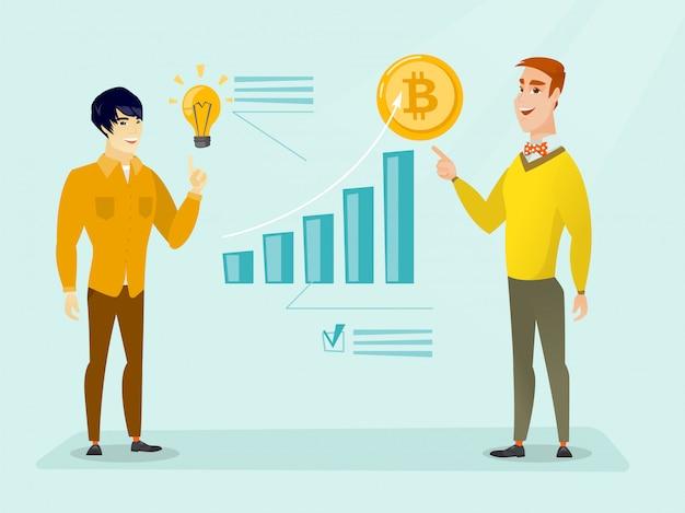 Succesvolle promotie van het opstarten van nieuwe cryptocurrency Premium Vector