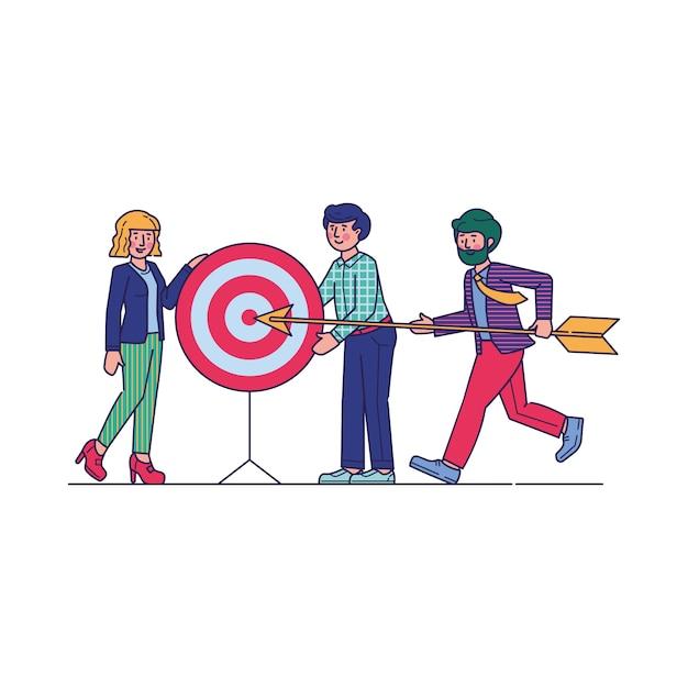 Succesvolle team dragende pijl om te richten Gratis Vector