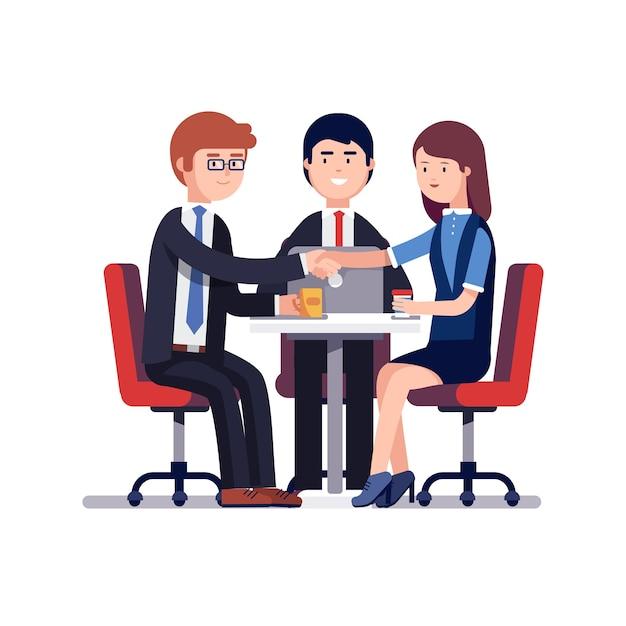 Succesvolle zakelijke bijeenkomst of werk interview Gratis Vector