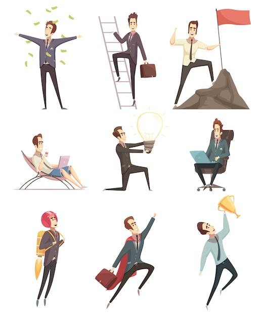 Succesvolle zakenman cartoon pictogrammen collectie Gratis Vector