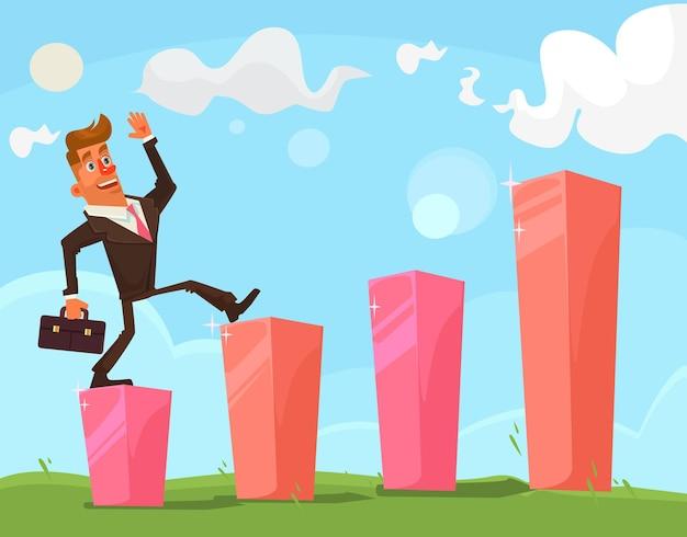 Succesvolle zakenman karakter illustratie Premium Vector