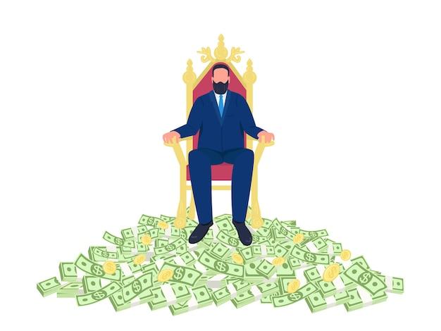 Succesvolle zakenman zittend op een troon platte concept illustratie Premium Vector