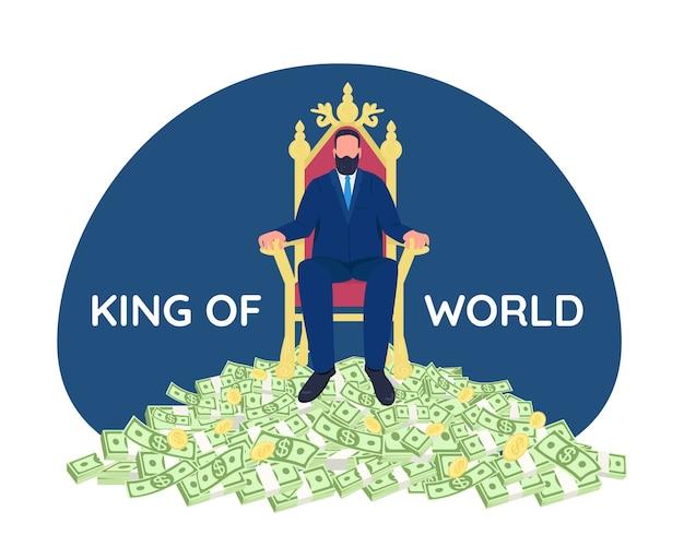 Succesvolle zakenman zittend op troon 2d webbanner, poster. koning van de wereld zin. tycoon plat karakter op cartoon achtergrond. rijke persoon afdrukbare patch, kleurrijk webelement Premium Vector