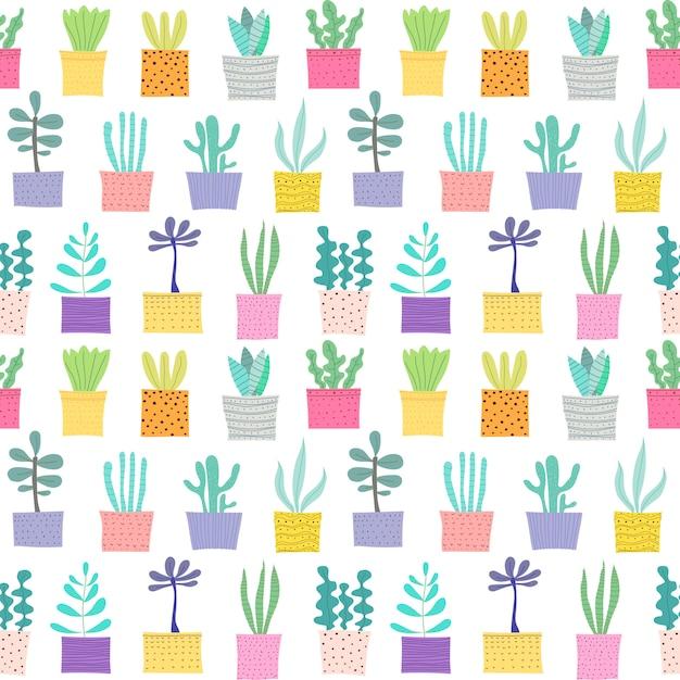 Succulente plant naadloze patroon achtergrond. Premium Vector