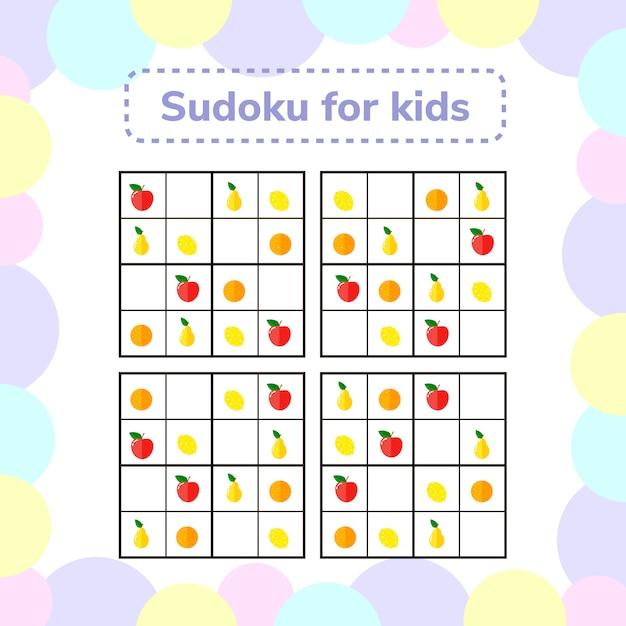 Sudoku-spel voor kinderen met afbeeldingen. log Premium Vector