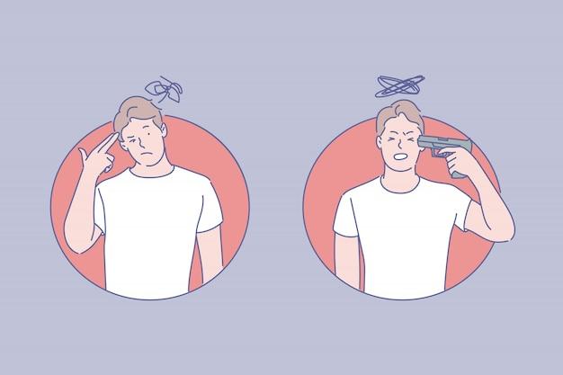 Suïcidale neigingen illustratie Premium Vector