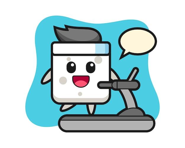 Suiker kubus stripfiguur lopen op de loopband, leuke stijl voor t-shirt, sticker, logo-element Premium Vector
