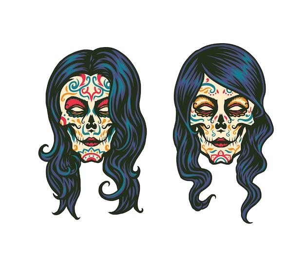 Suiker schedel meisje illustratie Premium Vector