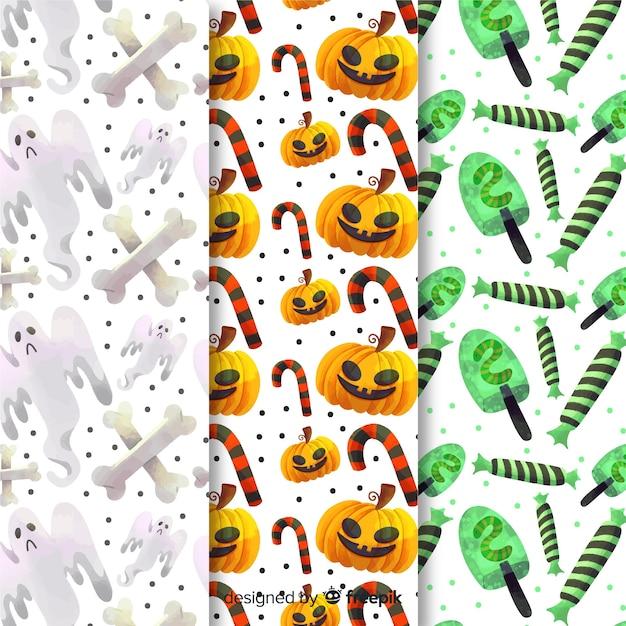 Suiker snoep halloween patroon collectie Gratis Vector