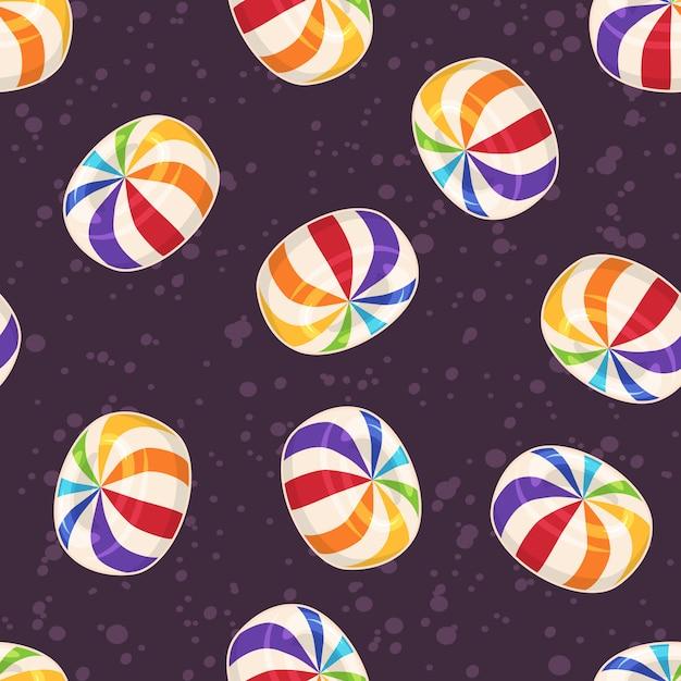 Suikergoed naadloos patroon, met harde suiker rond suikergoed op donkere achtergrond Premium Vector