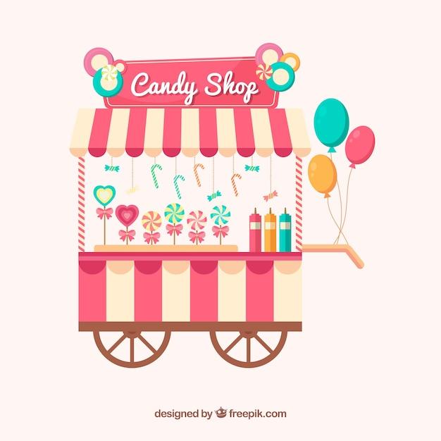 Suikergoed op wielen met ballonnen Gratis Vector