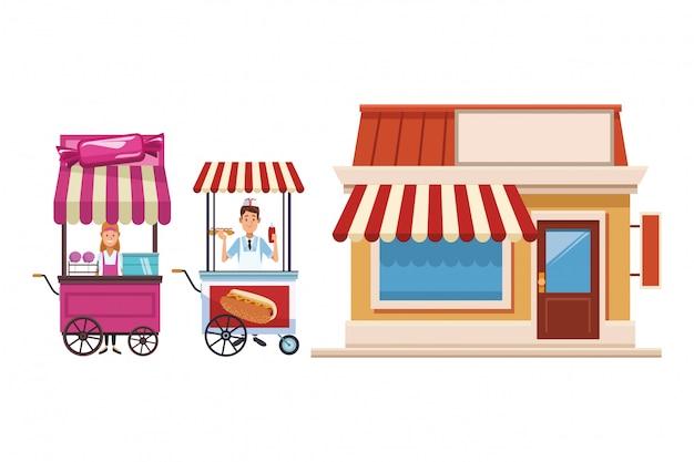 Suikerspin winkelwagen cartoon Premium Vector