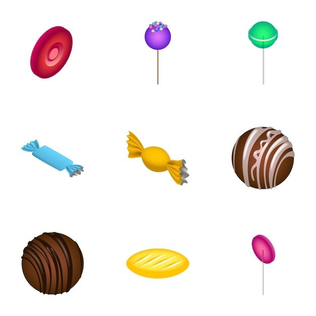 Suikersuikergoed pictogramserie. isometrische set van 9 suikerspinnen pictogrammen Premium Vector