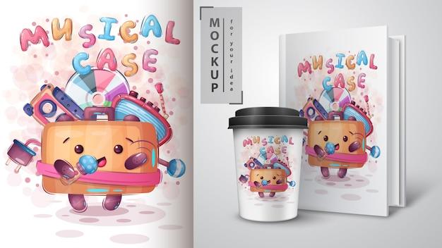 Suitcase zingt een lied - poster en merchandising Gratis Vector
