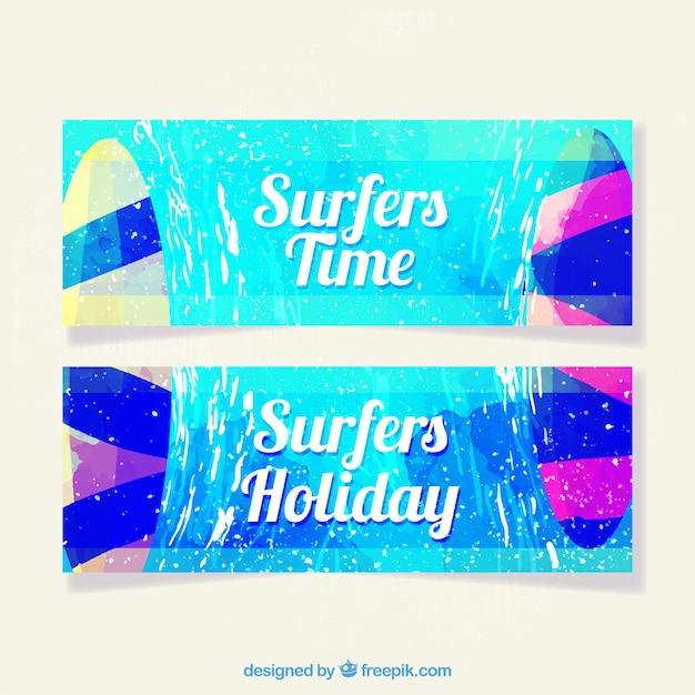Summer banners collectie Gratis Vector