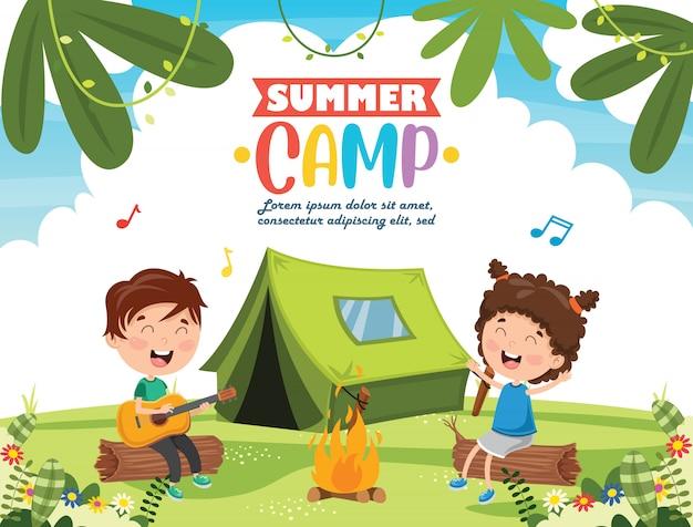 Summer camp kids Premium Vector