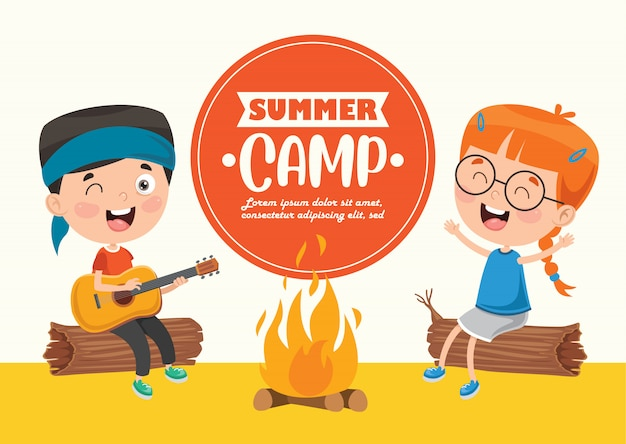 Summer camp kids Premium Vector