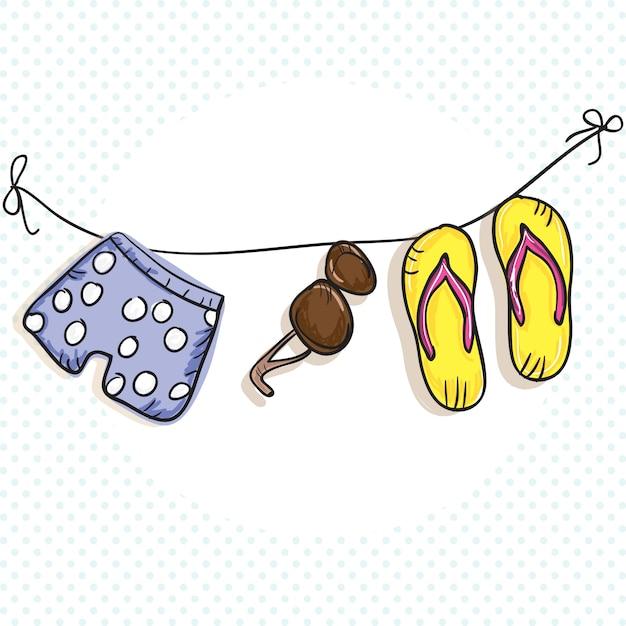 Summer sun icons (sandalen shorts zonnebril) Premium Vector