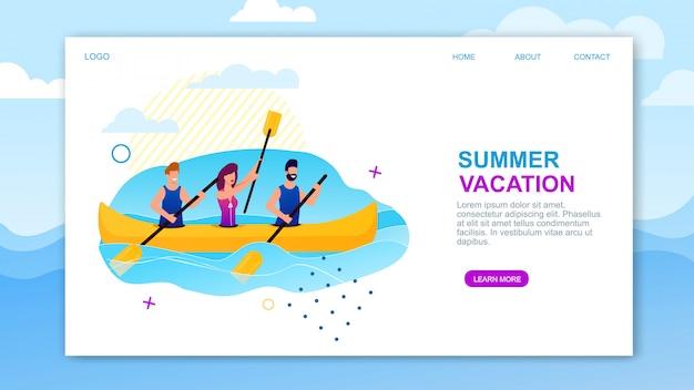Summer vacation landing page offering sea rowing. Premium Vector
